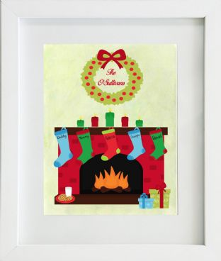 Personalised Fireplace & Christmas Stockings Print